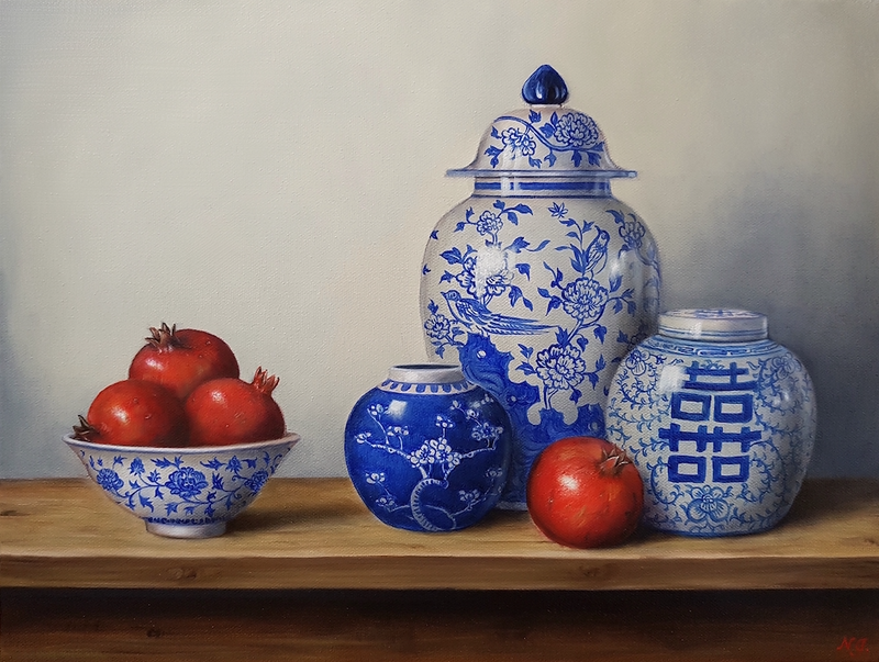 (CreativeWork) Blue & white chinaware with pomegranates  by Natasha Junmanee. oil-painting. Shop online at Bluethumb.