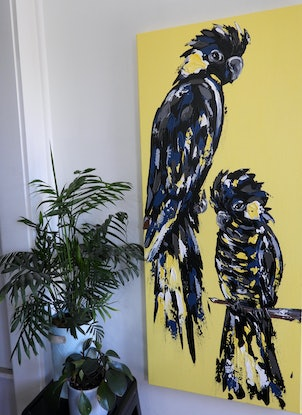 (CreativeWork) Yellow Tailed Black Cockatoo's on Yellow by Lisa Fahey. Acrylic Paint. Shop online at Bluethumb.