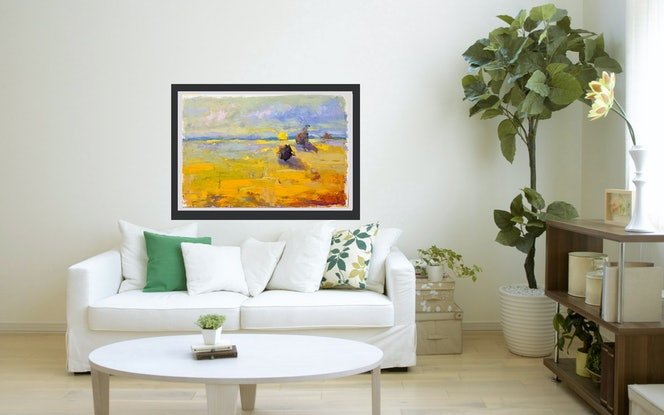 (CreativeWork) Sunrise Over Field by Mirjana Psakis. Oil Paint. Shop online at Bluethumb.