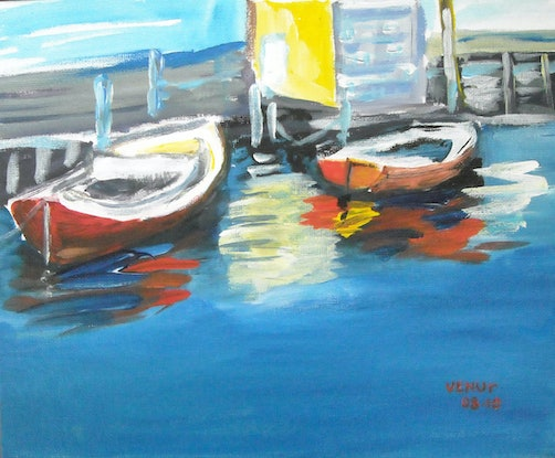 (CreativeWork) two boats by venur gorloff. Acrylic Paint. Shop online at Bluethumb.