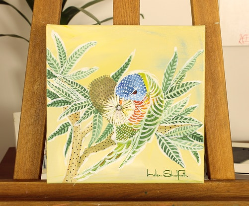 (CreativeWork) Banksia and Lorikeet by Helen Shadforth. Acrylic Paint. Shop online at Bluethumb.