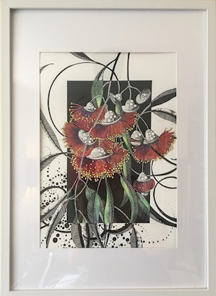 (CreativeWork) Flaming Red Native by Tania Daymond. Drawings. Shop online at Bluethumb.