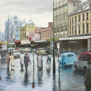 (CreativeWork) Rainy Day in Elizabeth Street, Hobart c.1957  Ed. 1 of 20 by Michael Bessell. print. Shop online at Bluethumb.