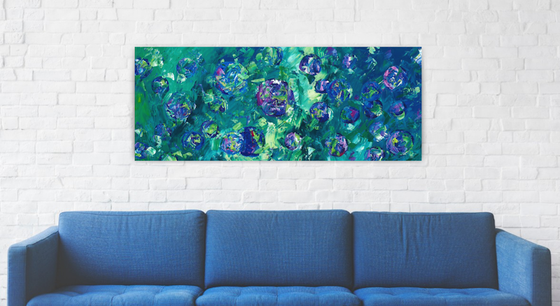 (CreativeWork)  Picking Berries - Long Abstract Circle Painting by Angela Hawkey. Acrylic Paint. Shop online at Bluethumb.