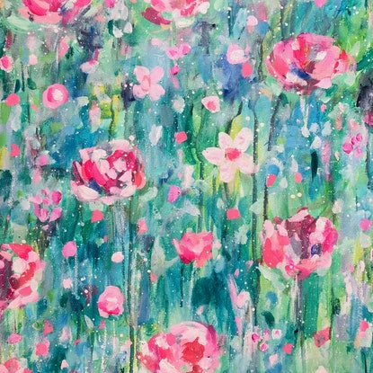 (CreativeWork) Floral Garden by Anna Pontikis. Acrylic Paint. Shop online at Bluethumb.