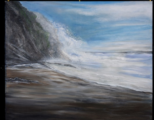 (CreativeWork)  Waves against the rock  by Barbara Hatten. Acrylic Paint. Shop online at Bluethumb.