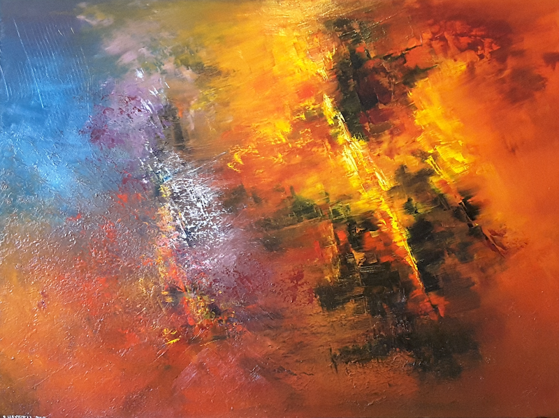 (CreativeWork) Exothermic Reaction  by Scott Maxwell. Oil Paint. Shop online at Bluethumb.