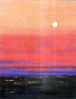 (CreativeWork) full moon above the city by venur gorloff. Oil Paint. Shop online at Bluethumb.