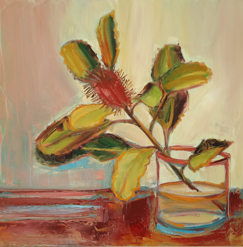 (CreativeWork) SINGLE STEM by Karen McPhee. Oil Paint. Shop online at Bluethumb.