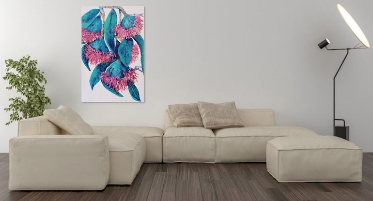 "(CreativeWork) Contemporary Australian Gum Flowers  ""Nature  Always Wears the Colors of the Spirit by Maria Cross. Acrylic Paint. Shop online at Bluethumb."