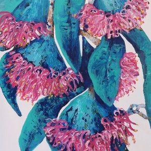 """(CreativeWork) Contemporary Australian Gum Flowers  """"Nature  Always Wears the Colors of the Spirit by Maria Cross. arcylic-painting. Shop online at Bluethumb."""