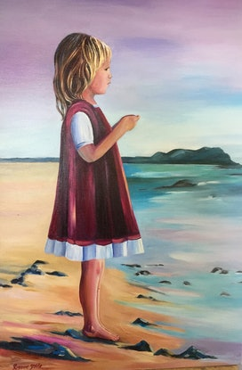 (CreativeWork) Girl  on the Beach by Rosanne Steele. Acrylic Paint. Shop online at Bluethumb.