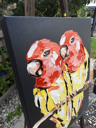 (CreativeWork) Lutino Lovebirds by Lisa Fahey. Acrylic Paint. Shop online at Bluethumb.