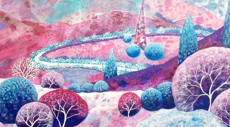 (CreativeWork) Moonscape   by Diane McDonald. Mixed Media. Shop online at Bluethumb.