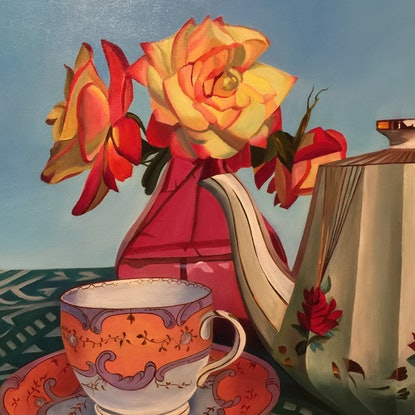 (CreativeWork) Time for a Cup of Tea by Rosanne Steele. Acrylic Paint. Shop online at Bluethumb.
