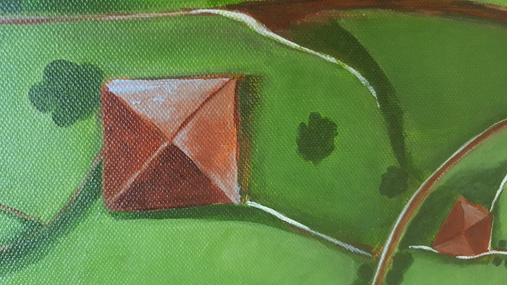 (CreativeWork) The Hillside by Kathryn Gruber. Acrylic Paint. Shop online at Bluethumb.