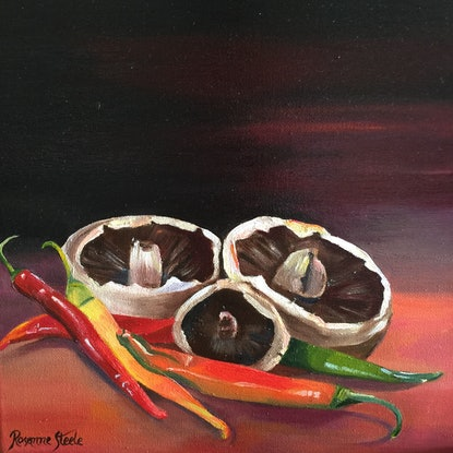 "(CreativeWork) ""MUSHROOMS & CHILLIES"" and ""APPLES and PEARS"" 2 Paintings as a Pair by Rosanne Steele. Acrylic Paint. Shop online at Bluethumb."