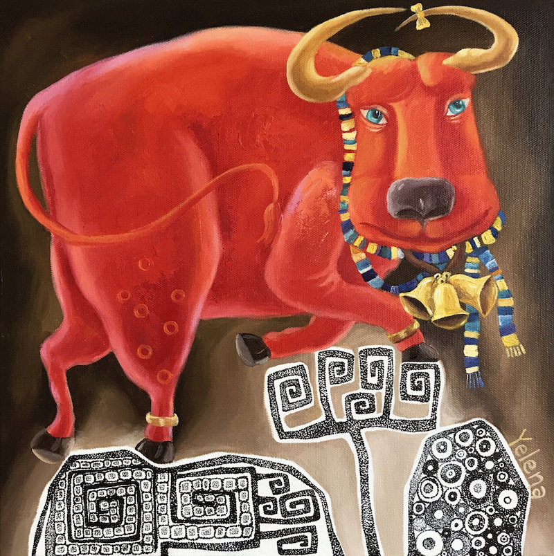 (CreativeWork) Year of the Ox - original surreal whimsical painting Chinese horoscope by Yelena R. Oil Paint. Shop online at Bluethumb.