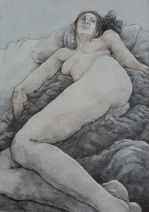 (CreativeWork) Reclining Nude Drawing by Mac Monks. Drawings. Shop online at Bluethumb.