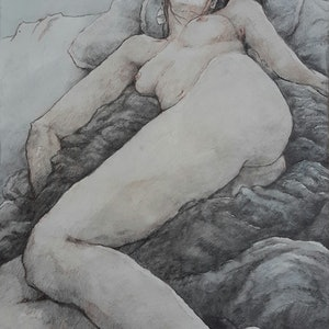 (CreativeWork) Reclining Nude Drawing by Mac Monks. #<Filter:0x0000557e94432070>. Shop online at Bluethumb.