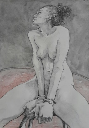(CreativeWork) Sitting Nude Drawing by Mac Monks. Drawings. Shop online at Bluethumb.
