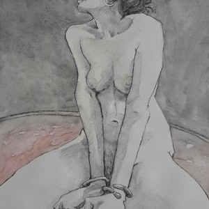 (CreativeWork) Sitting Nude Drawing by Mac Monks. #<Filter:0x0000557e944e4838>. Shop online at Bluethumb.