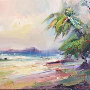 (CreativeWork) Palm Cove beach No 2 by Liliana Gigovic. oil-painting. Shop online at Bluethumb.