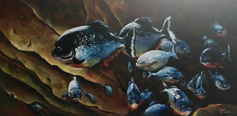(CreativeWork) Piranhas by Keir Jamieson. Acrylic Paint. Shop online at Bluethumb.