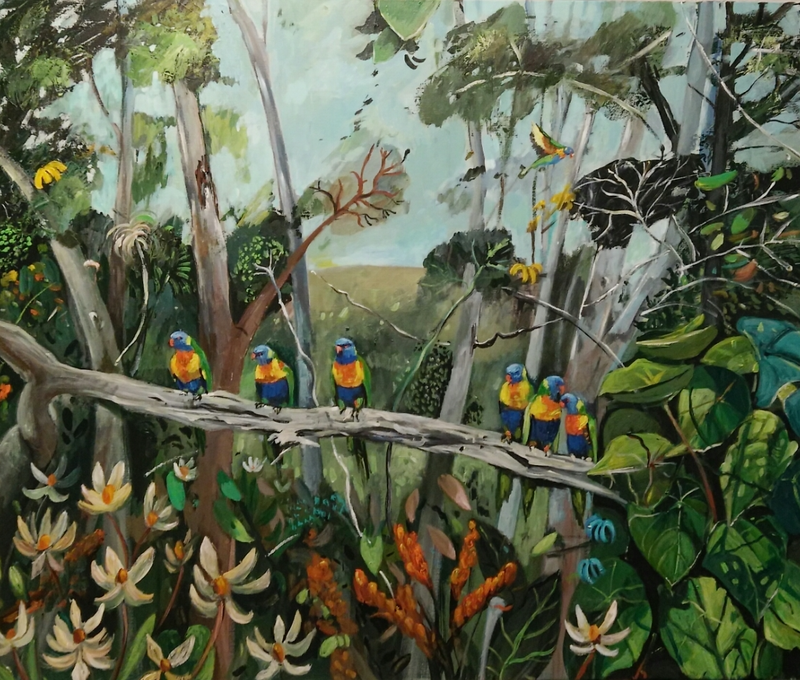 (CreativeWork) The Lorikeet Garden (PRIVATE COMMISSION) by Susan Trudinger. Acrylic Paint. Shop online at Bluethumb.