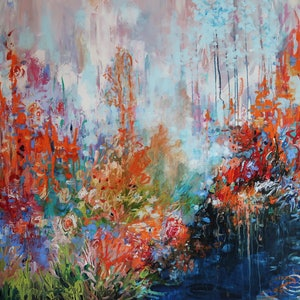 """(CreativeWork) Abstract """"Feel the Integrity, Warmth, Beauty and Floating Clouds of Nature"""" by Maria Cross. arcylic-painting. Shop online at Bluethumb."""