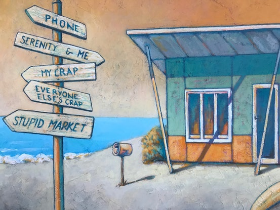 (CreativeWork) Beach House by the Sea by Mary Conder. Acrylic Paint. Shop online at Bluethumb.