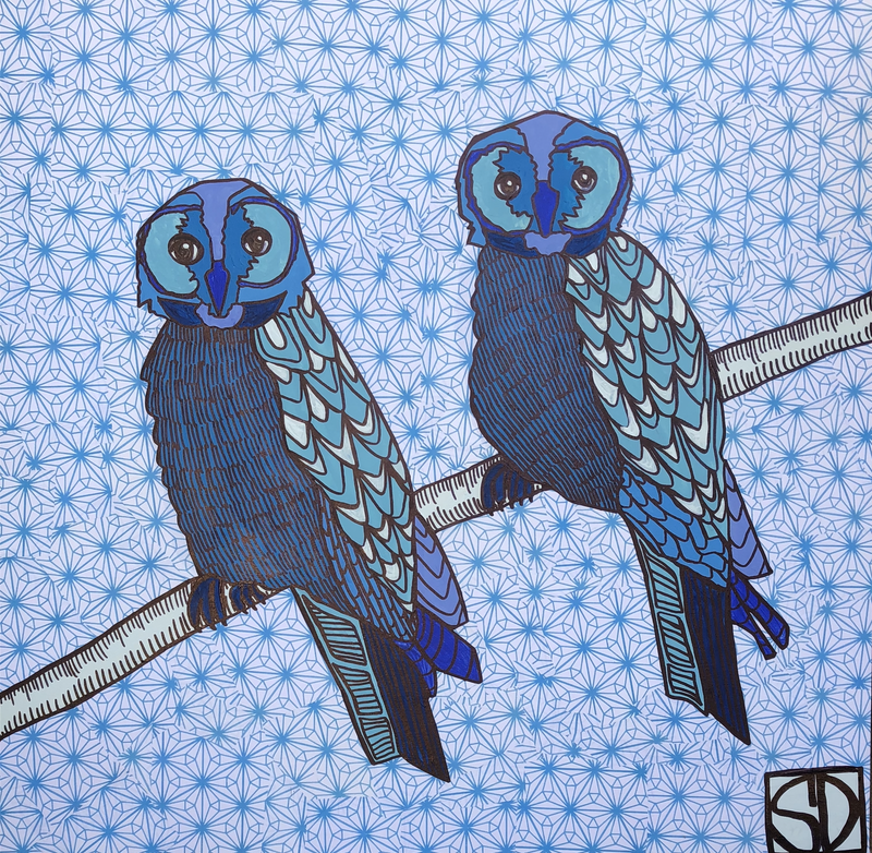(CreativeWork) Blue Owl Brothers by Sally Dunbar. Mixed Media. Shop online at Bluethumb.