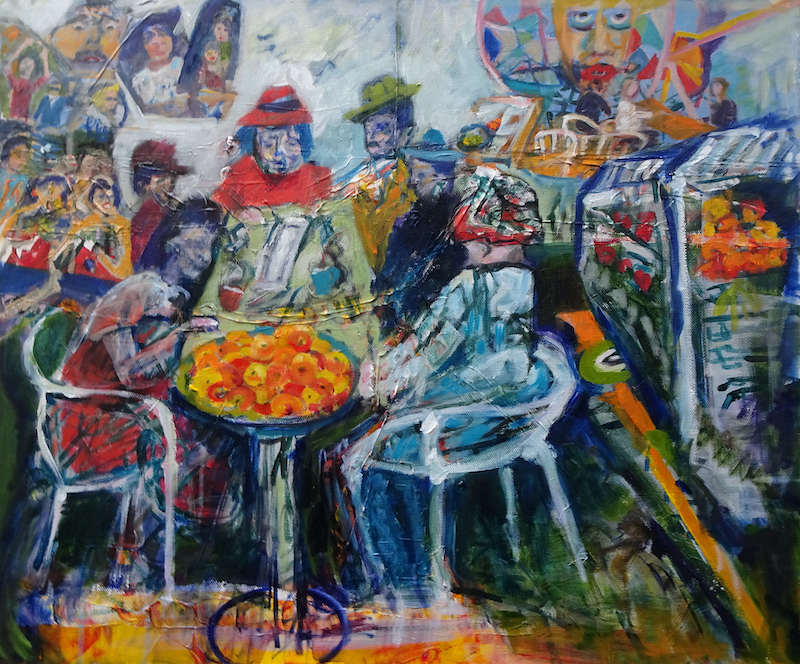(CreativeWork) LUNCH AT THE ADELAIDE CENTRAL MARKET by Maureen Finck. Oil Paint. Shop online at Bluethumb.