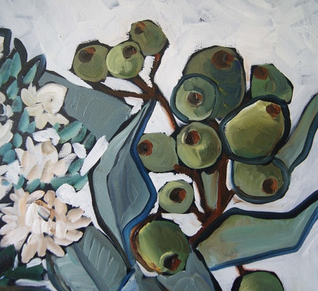 (CreativeWork) Still Life with Paper Daisies by Katerina Apale. Oil Paint. Shop online at Bluethumb.