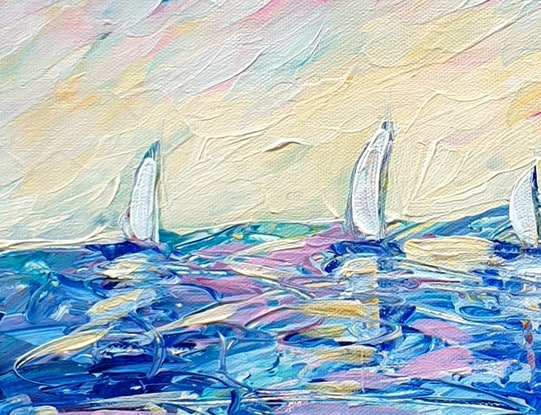 (CreativeWork) Sunday Sailing - Abstract Beach Seascape by Angela Hawkey. Acrylic Paint. Shop online at Bluethumb.