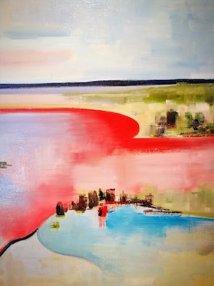 (CreativeWork) Murray River Basin by Cindy Glyde. Oil Paint. Shop online at Bluethumb.