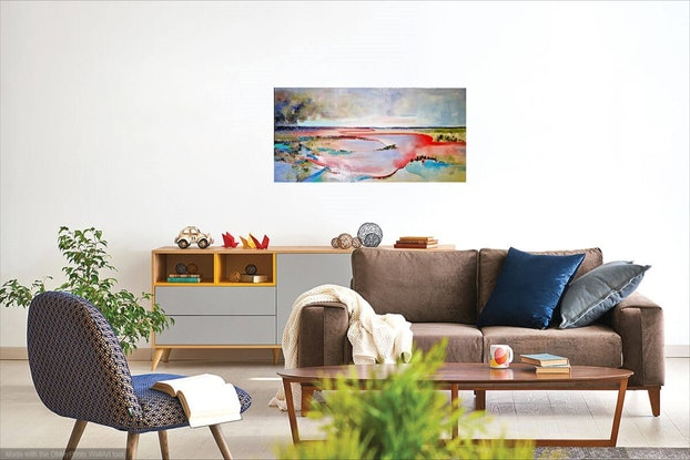(CreativeWork) Murray River Basin by L E Glyde. Oil Paint. Shop online at Bluethumb.