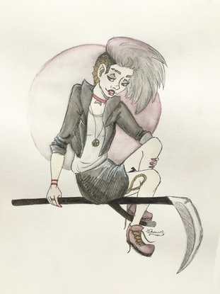 (CreativeWork) Death by Shelby Ward. Drawings. Shop online at Bluethumb.