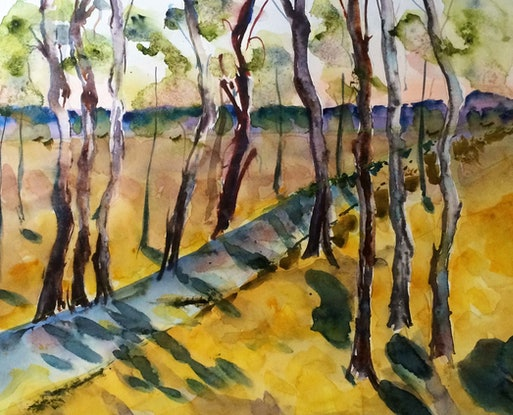 (CreativeWork) Along the creek (watercolour on Fabriano) by Margaret Morgan (Watkins). Watercolour Paint. Shop online at Bluethumb.