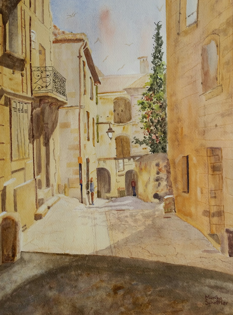 (CreativeWork) The Golden Walls of Ancient Uzes  by Monika Scheffler. Watercolour Paint. Shop online at Bluethumb.