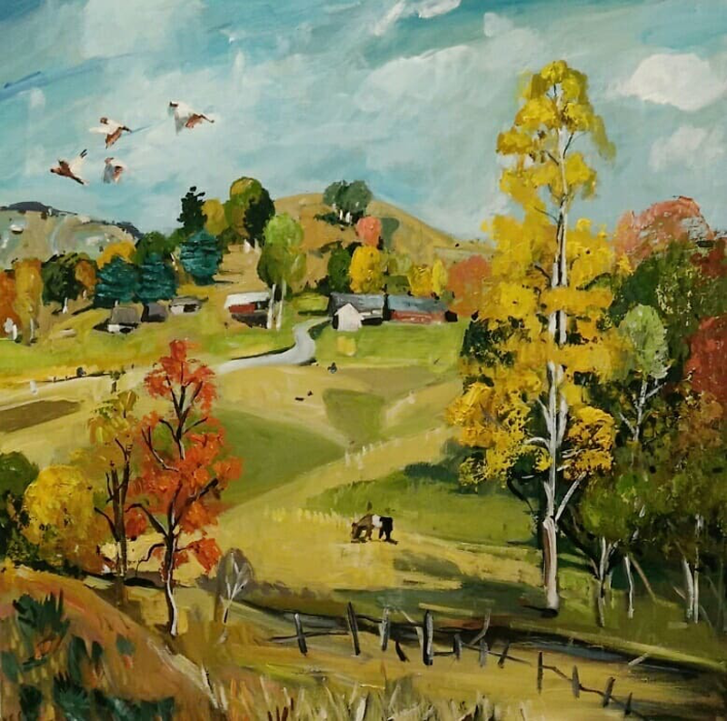 (CreativeWork) Autumn Trees - landscape by Susan Trudinger. arcylic-painting. Shop online at Bluethumb.