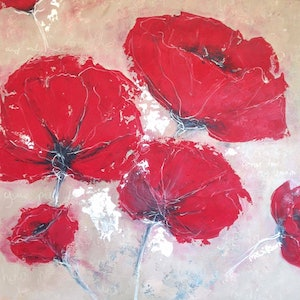 (CreativeWork) Poppies and Prose by Marlene Willson. arcylic-painting. Shop online at Bluethumb.