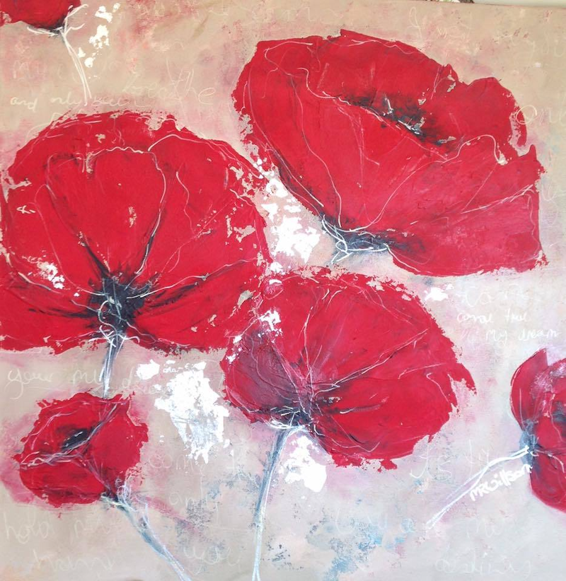(CreativeWork) Poppies and Prose by Marlene Willson. Acrylic Paint. Shop online at Bluethumb.
