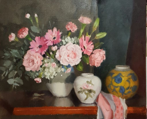 (CreativeWork) Roses and Carnations by Jeffrey Murphy. Oil Paint. Shop online at Bluethumb.