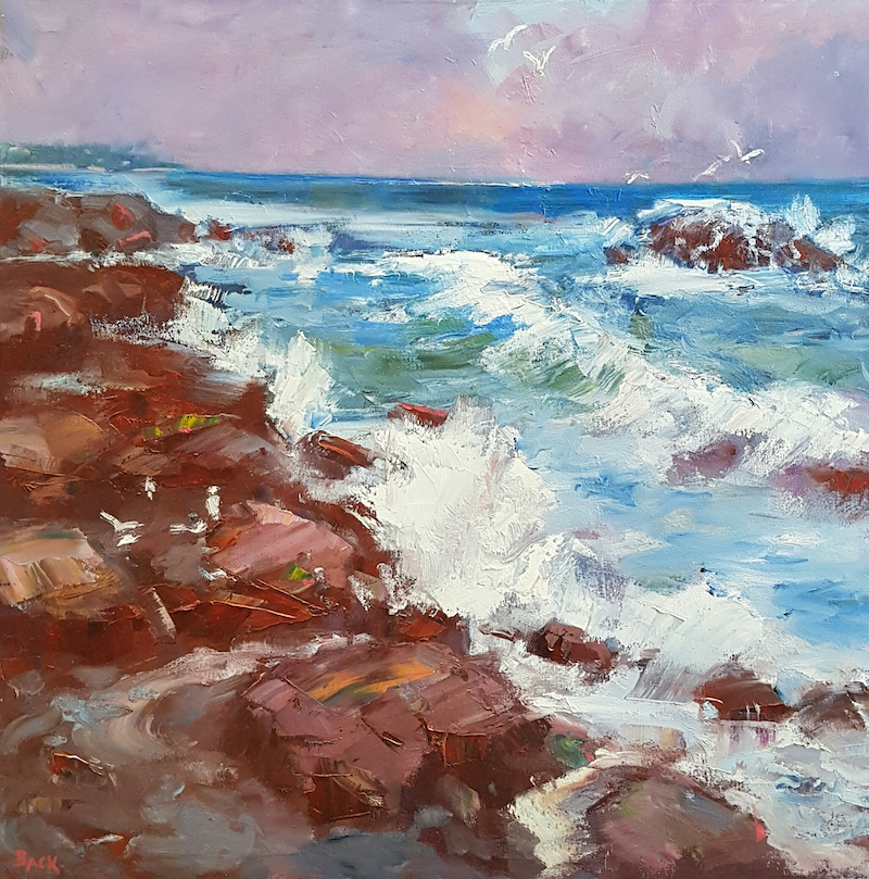 (CreativeWork) Wave Break. Caloundra. Qld by Barry Back. Oil Paint. Shop online at Bluethumb.