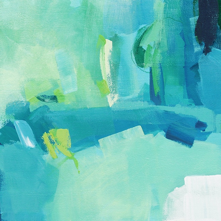 Tropical Large Long Blue Green Abstract Painting