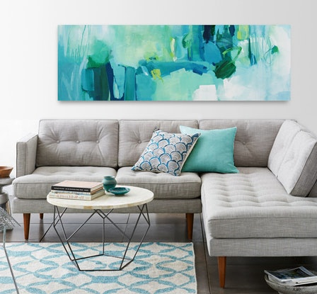 (CreativeWork) Tropical - Large, long, blue, green, abstract painting. by Stephanie Laine. Acrylic Paint. Shop online at Bluethumb.
