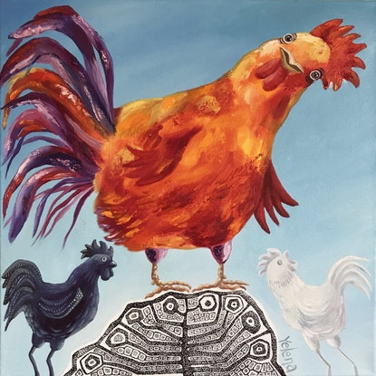 (CreativeWork) Year of the Rooster - original whimsical painting Chinese horoscope  by Yelena R. Oil Paint. Shop online at Bluethumb.