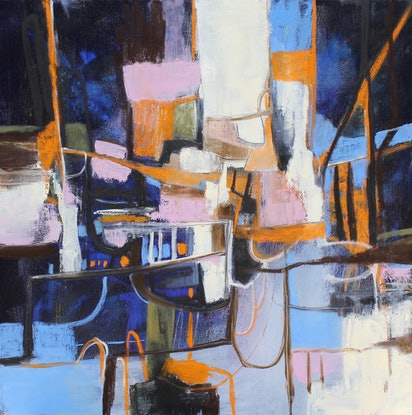 (CreativeWork) City Streets Never Sleep by Rachel Gillam. Oil Paint. Shop online at Bluethumb.