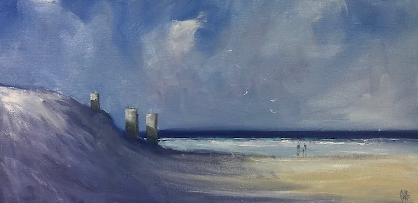 (CreativeWork) Three-pole beach by Mike Barr. Oil Paint. Shop online at Bluethumb.